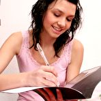 First pic of Abigail at AllTeenStars.com-Tight teen Abigail does her homework wearing a see-through panties