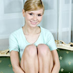 First pic of Cute blond girl Paloma spread her sexy legs and shows her shaved pussy