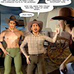 Second pic of Gay cowboys adventures – horsey style: rare 3D gay comics and anime fantasy about gay hunks hardcore experiments outdoors in the Wild West