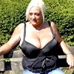 First pic of Breast Safari - Giant Boobs Fat Blonde Posing Outdoor