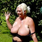 Third pic of Breast Safari - Giant Boobs Fat Blonde Posing Outdoor