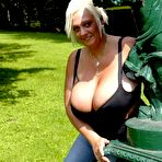 Fourth pic of Breast Safari - Giant Boobs Fat Blonde Posing Outdoor