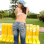 Second pic of Pamela strips down her jeans and pulls out her glass dildo