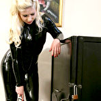 Third pic of OWK - Mistress in black latex catsuit humiliates her slave