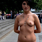 First pic of Public Disgrace - Brunette tied in bondage leash humiliated in public disgrace sex outdoor