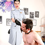 First pic of OWK - Mistress Laudana in uniform punishing filthy pig