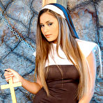 First pic of Asian nun Michelle Maylene inserting big wooden cross in tight pussy