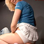 First pic of Blonde in white panties and pink high heel shoes sits on man's face and smothers him