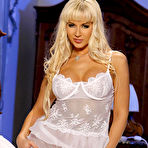 First pic of Sex Previews - Cindy Dollar curly busty blonde in white lingerie is stripteasing