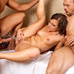 Fourth pic of Casey Cumz squirting all over them after getting double penetrated