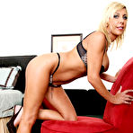 Second pic of Misty Vonage - Classy blonde babe Misty Vonage strips her black lingerie and shows her melons.