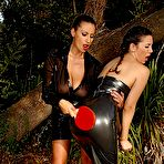 Second pic of Sex Previews - Sensual Jane lezdom in latex spanks bound fetish girl Jelena Jensen outdoors