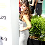 Fourth pic of Sarah Shahi busty and booty in low cut strapless dress at USA Network 2012 Upfront in New York