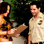 First pic of        Adrianna Luna takes care of the delivery guy's package