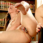 First pic of Aiden Starr gets her slit rammed and teased with toys while with uniform babe Casey Calvert.