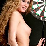Fourth pic of Nastya A - Gorgeous and curvy Nastya A loves playing darts in her sexy stockings only.