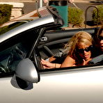 Fourth pic of Young blonde bitches flashing in their cabriolet car - XBabe