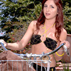 First pic of Lexi Brooks - Beautiful redhead model Lexi Brooks strips outdoors and fingers her wet muff.