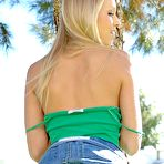 Second pic of Brea Bennett - Cute blond solo babe, Brea Bennett gets off her green shirt and shows her tight pussy