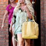 Third pic of Jessica Simpson cleavy and leggy wearing snake print shirt and denim shorts out in Calabasas