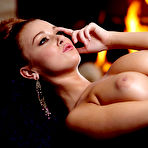 Fourth pic of Leanna Decker Smoldering Busty Redhead Sexy by the Fire