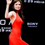 Third pic of Angelina Jolie in red dress at Salt premiere In Moscow