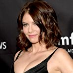 Third pic of Lauren Cohan sexy cleavage at amfAR