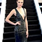 Fourth pic of Gal Gadot braless showing huge cleavage in a shiny black dress at Fast And Furious 6 premiere in London