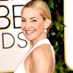 Second pic of Kate Hudson braless showing huge cleavage in revealing white dress at 72nd Annual Golden Globe Awards in Beverly Hills