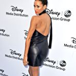 First pic of Dania Ramirez showing off her curvy body in a leather mini dress at the Disney Media Networks International Upfronts in Burbank