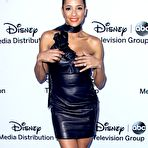 Third pic of Dania Ramirez showing off her curvy body in a leather mini dress at the Disney Media Networks International Upfronts in Burbank