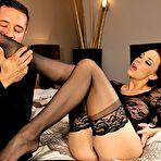 Second pic of Sex Previews - Chanel Preston in lace lingerie and black stockings having feet fetish sex in her bedroom