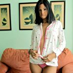 Second pic of Sweet swarthy teen in pajamas turns into totally irresistible stripper - XBabe