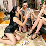 First pic of Threesome lesbian orgy with raunchy babes in sheer pantyhose and high heels at Pantyhose for Ladies
