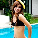 Fourth pic of Skinny Thai girl getting naked by the pool | Asian Porn Times