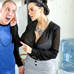 First pic of Buxom stocking-clad teachers Nikki Benz & Amy Anderssen smother and team fuck an undiligent student