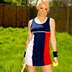 First pic of Lucy Briggs looking adorable in her tennis skirt | Only Tease Fan