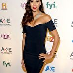 Second pic of Dania Ramirez busty in revealing black dress at 2015 A&E/Lifetime Networks Upfront in NYC