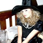 First pic of Little blondie in witch's dress and hat tries herself in nude posing - XBabe