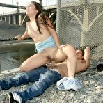 Third pic of Pretty brunette Kristina Rose eats cum after blowing cock and getting hit outdoors