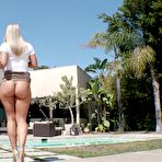 Fourth pic of  					Blonde babe Candice Dare starts off seduction and ass worship outside - Pornstar Movies