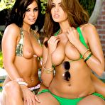 Second pic of Lesbian goddesses Isis Taylor and Jackie Daniels pull off their bikinis in the shadow