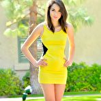 First pic of Kinky chick Emily Grey loses off her yellow dress and exposes nude teenage charms outdoor