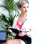 Second pic of Office glamor girl Elle Richie in satin lingerie does everything to make her.. - Stockings Girdles