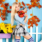 First pic of Busty Dreamy Blonde in a Plaid Skirt