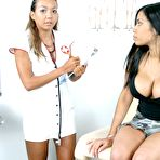 First pic of Latina patient Havana Ginger gets her holes and huge tits examined by asian nurse