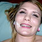 Fourth pic of Amateur blonde teen gives handjob and gets facial