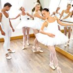 First pic of Pantyhosed ballet dancers Eveline Dellai, Cayla A and Vinna Reed launch into FFFM orgy en pointes