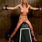 Third pic of Lovely bound blonde Slave Mason gets her shapely boobs tortured on sybian.