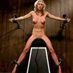 Fourth pic of Lovely bound blonde Slave Mason gets her shapely boobs tortured on sybian.
